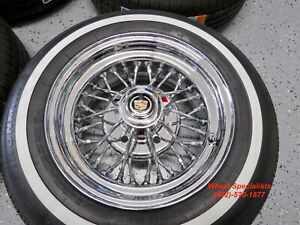 15 Inch Cadillac 30 Spoke Mclean Chrome Wire Wheels Whitewall Tires Package Set