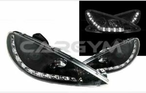 Led Drl Angel Eyes Chrome Projector Headlight For Peugeot 206 206cc