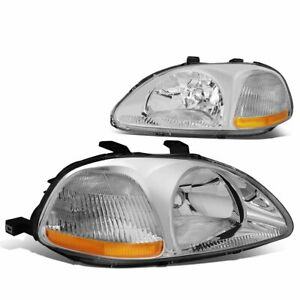 For 1996 1998 Honda Civic Dx Ex Lx Replacement Headlights Lh rh chrome clear