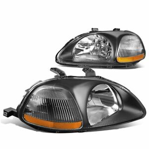 For 1996 1998 Honda Civic Dx Ex Lx Replacement Headlights Lh Rh Jdm Black