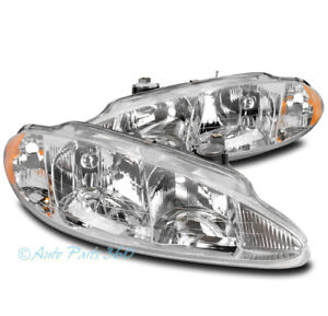 For 98 04 Dodge Intrepid Replacement Headlights Headlamps Lamp Chrome Lh rh Pair