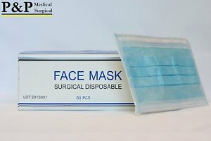 Disposable Medical Face Masks Elastic With Ear Loops 3 ply Thick Box Of 1500