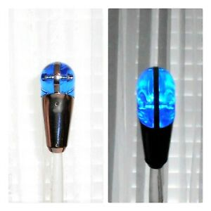 Vintage Rare Metal Acrylic Blue And Silver Light Up Gear Shift Knob