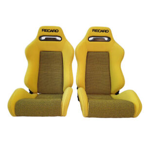 2 Jdm Recaro Sr3 Tomcat Yellow Reclinable Bucket Racing Seats Mustang Bmw Cars