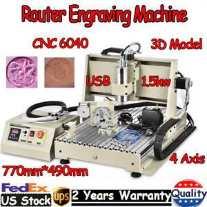 Usb 4 Axis Cnc 6040 Router Engraver Machine Metal Woodwork Drilling Milling Tool