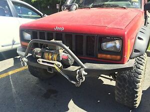 Jeep Cherokee Xj Front Winch Bumper Steel 84 01 With 2 Receiving Hitch Usa