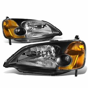 For 2001 2003 Honda Civic 2 4dr Black Clear Headlights Lamps Left Right Pair