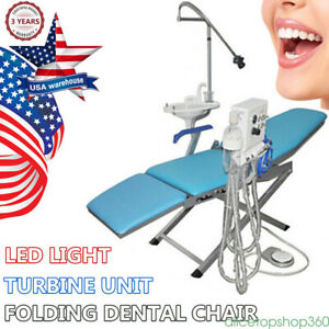 Brand New Folding Dental Chair Led Light Lamp Turbine Unit Water Supply 4 Holes