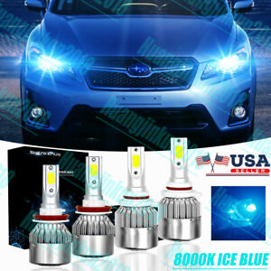 Ice Blue Led Headlight Bulbs 9005 H11 High Low Beam For Subaru Crosstrek 2013 17