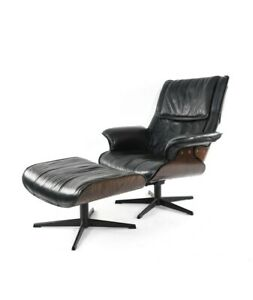 Vintage Mid Century Modern Eames Style Leather Lounge Chair Ottoman