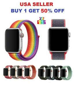 Woven Nylon Band For Apple Watch Sport Loop iWatch Series 4 3 2 1 38 42 40 44mm $3.75