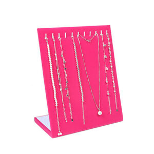 Rose Jewelry Pendant Necklace Display Ramp Holder Stand Organizer Storage Cases