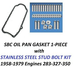 Sbc Oil Pan Gasket 1pc Rubber Stainless Steel Stud Bolts 58 79 283 327 350