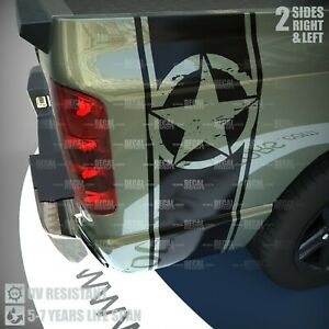 Vinyl Decal Stripes Distressed Military Star Truck Rear Bed Side Racing Sticker