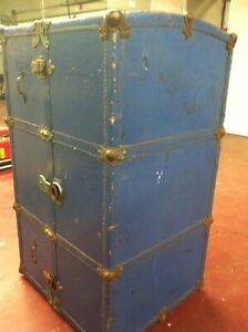 Antique Oshkosh The Chief Wardrobe Steamer Trunk Luggage Chest Vintage Blue Huge