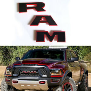 1x Oem Black Ram Grille Emblem Nameplate Badge For 2019 2020 Ram 1500 Red Frame