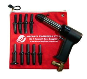 Aircraft Tools 4x Pneumatic Air Rivet Gun With 401 9pc Snap Set In Pouch