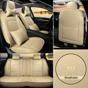 Beige Leather Truck Seat Covers Protectors Fit For Chevrolet Silverado 2012 2019