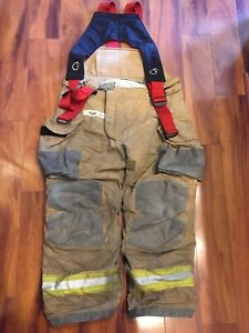 Firefighter Janesville Lion Apparel Turnout Bunker Pants 38x30 2007 W Suspenders