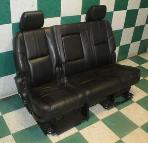 07 14 Gm Suv Lwb Rear Second 2nd Row Back Bench Seat Black Leather Factory Oem