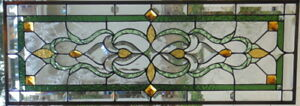 Stained Glass Transom Window Hanging 37 X 13 1 2 Brass Frame Edging