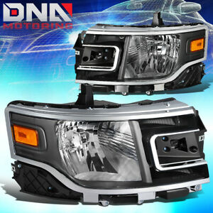 For 2013 2019 Ford Flex Factory Style Headlights Lamps W Led Side Marker Black