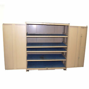 Stanley Vidmar 60 X 27 5 X 59 Tan 2 door Industrial 5 shelf Storage Cabinet