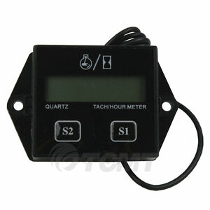 Black Digital Hour Meter Tachometer Gauge For 2 4 Stroke Gas Engines Dirt Bike