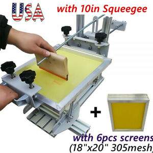 Usa Manual Cylinder Screen Printing Machine With 6pcs Screens 10 Squeegee