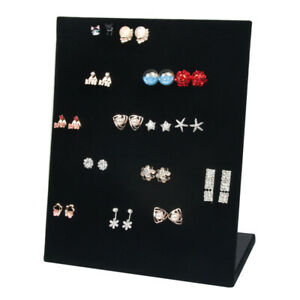 Black Velet Ramp Earrings Jewelry Display Stand Holder Organizer Storage Cases