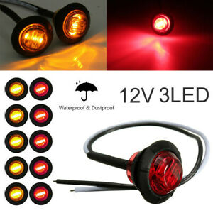 10pc Yellow Red 3 4 Bullet Clearance Side Marker Truck Trailer 3 Led Lights Kit