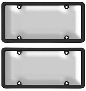 Ultimate Tuf Black clear License Plate Frame Bubble Shield Combo Kit 2 Pack
