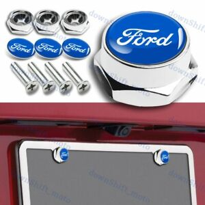 X4 For Blue Chrome Ford Car License Plate Frame Security Screw Bolt Caps Covers