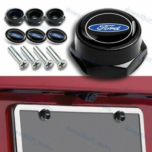 4pcs For Ford Black Car License Plate Frame Security Screw Bolt Caps Covers Set