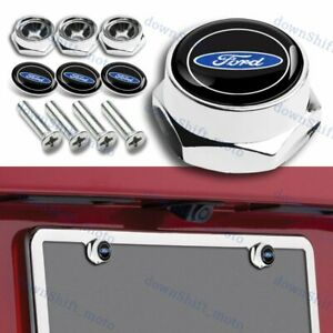 For Ford Silver Car License Plate Frame Security Screw Bolt Caps Covers 4pcs Set
