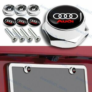 4pcs Racing Car License Plate Frame Screw Bolt Cap Cover Screw Chrome For Audi