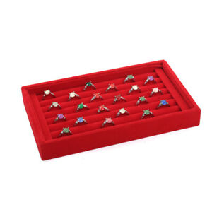 Red Velvet Jewelry Ring Display Earring Show Case Organizer Shelf Boxes Tray