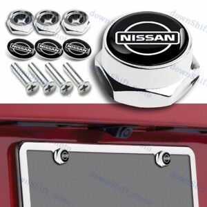 For Nissan Racing Car License Plate Frame Screw Bolt Cap Cover Bolts Nuts Chrome