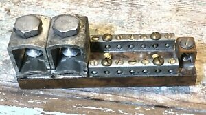 Solid Copper Double Row Neutral Ground Bus Bar 14 Positions W 14 1 Lug