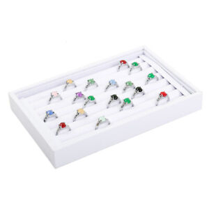 White Velvet Jewelry Display Earring Show Case Rings Organizer Shelf Boxes Tray