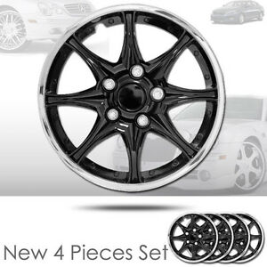 For Kia New 15 Inch Black Hubcaps Wheel Covers Full Lug Skin Hub Cap Set 522