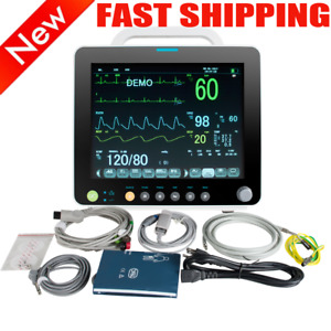 12 Portable Multi parameter Patient Monitor Ecg nibp spo2 temp pr alarm Usps