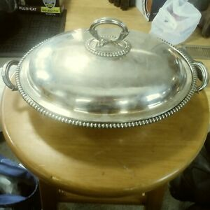 Vintage Antique Silver Child S Covered Serving Dish With Odd Engraving Marked