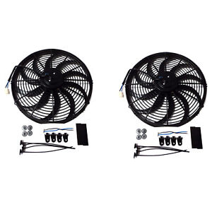 2x 12 Inch Slim Fan Push Pull Electric Radiator Cooling 12v Mount Kit Universal