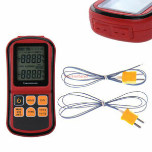 Lcd Digital Thermocouple Thermometer Temperature Dual channel Meter Tester Us