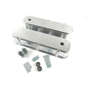 For 65 95 Bbc Chevy 454 Ball Milled Aluminum Tall Polished Valve Covers W Hole