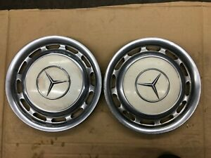 Vintage Mercedes Benz Wheel Cover Hub Cap Rim Off White Set Of 2