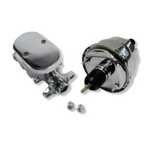 7 Chrome Dual Diaphragm Brake Booster And Chrome Smooth Top Master Cylinder Gm