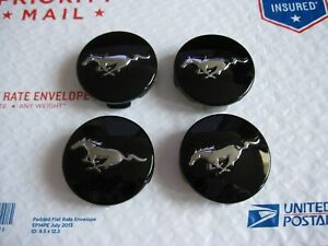 Set Of 4 Genuine Oem 2015 2020 Ford Mustang Black Center Caps P n Fr3c 1a096 ac