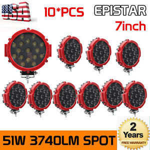 10x 7 inch 51w Round Off Road Led Work Lights For Jeep Truck Bumper Slim 4wd Red